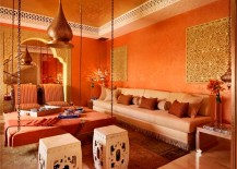 Red and orange Moroccan Room 217x155 Bold Design Touches That Create a Moroccan Oasis in Your Own Home