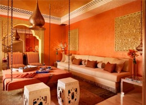 Red and orange Moroccan Room