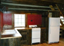 Red barnwood beadboard in the kitchen