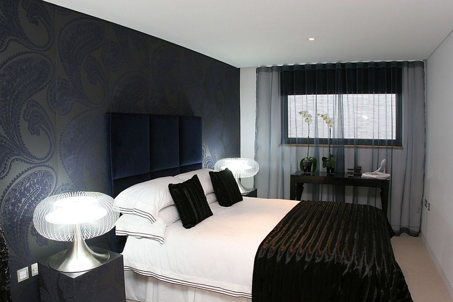 refined contemporary bedroom with dark sheer curtains design sacha