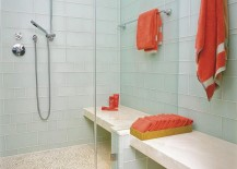 Refreshing shower with coral towels 217x155 Shower Cleaning Tips for a Gleaming Powder Room