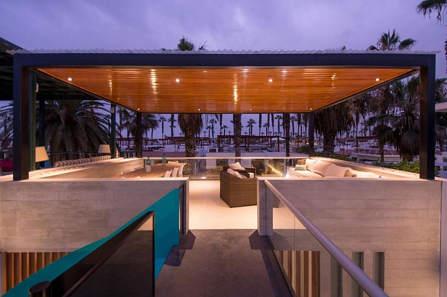 Rooftop lounge of the stylish beach house