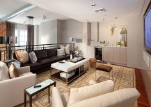Rug adds geometric pattern to the living room [From: Mitch Allen Photography]
