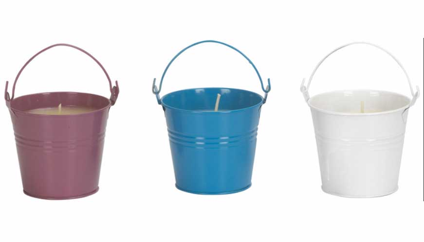 Scentinella Multi-Colored Mosquito Repelling Candles in Buckets