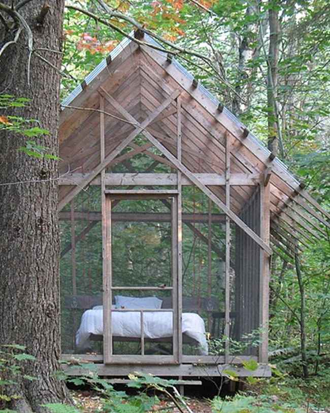 Tranquil screened in porch ideas for Sleeping cabin plans