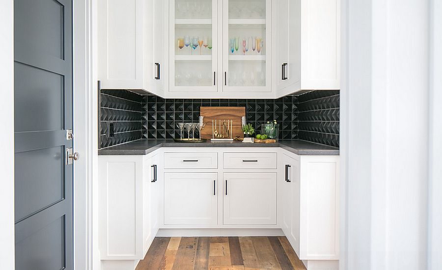 Sculptural black tile with a touch of 3D brilliance in the kitchen [Design: Brooke Wagner Design]