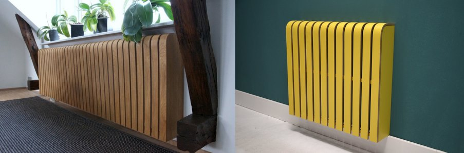 Sculptural laminate radiator covers