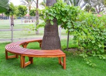 Semicircle tree bench from Forever Redwood