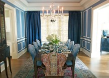 Shades of blue are perfect for darker curtains