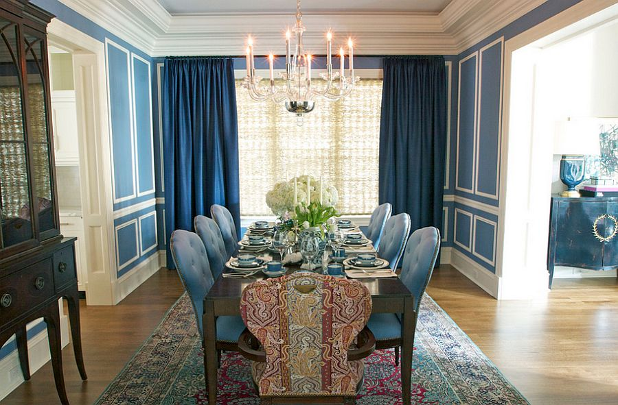 Shades of blue are perfect for darker curtains [Design: Summer Thornton Design]