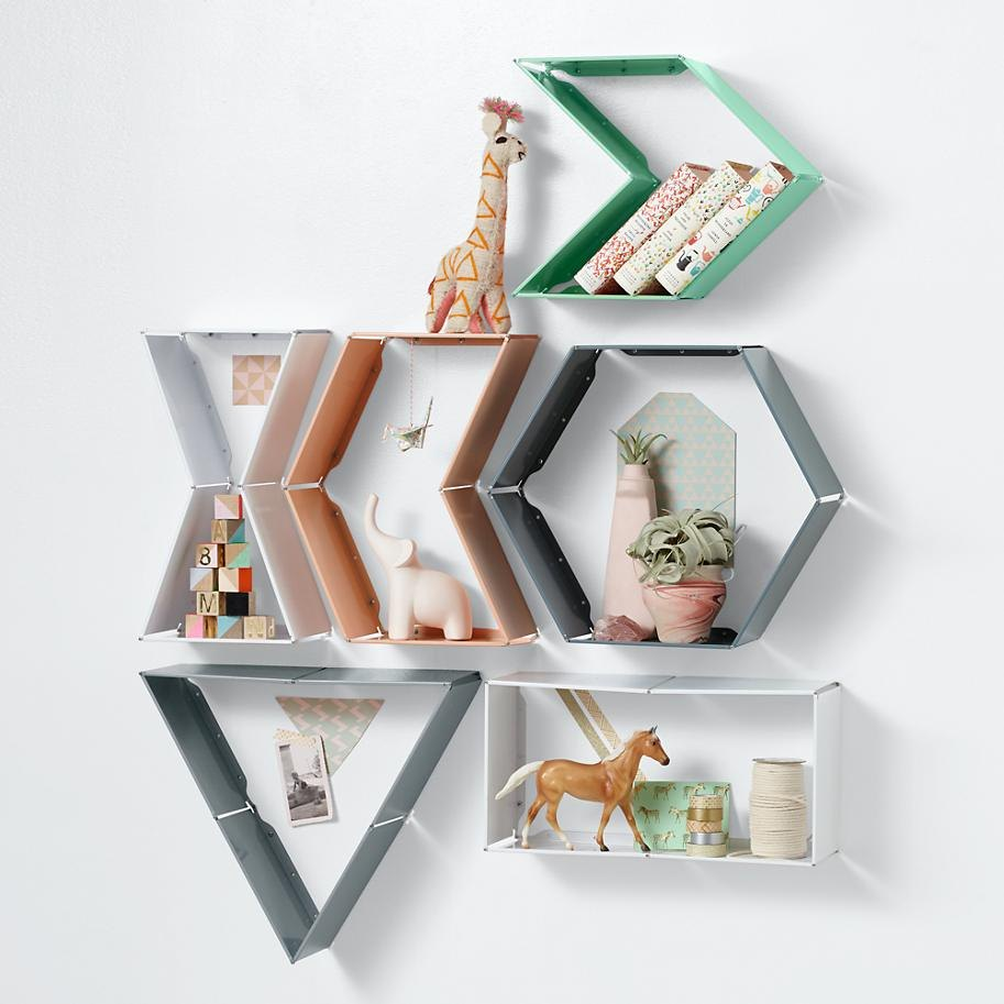 Shape shifting wall shelves from The Land of Nod
