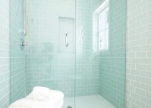 Shower with gleaming glass doors