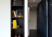 Simple and sleek shelf design makes use of space on offer