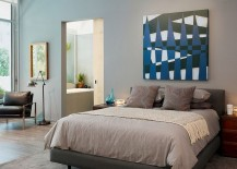 Simple way to add wall art to the modern bedroom [Design: Incorporated]