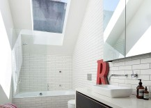 Skylight above the bathroom in white