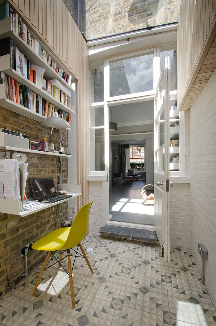 Small London home office with geometric tiled flooring [Design: Gort Scott]