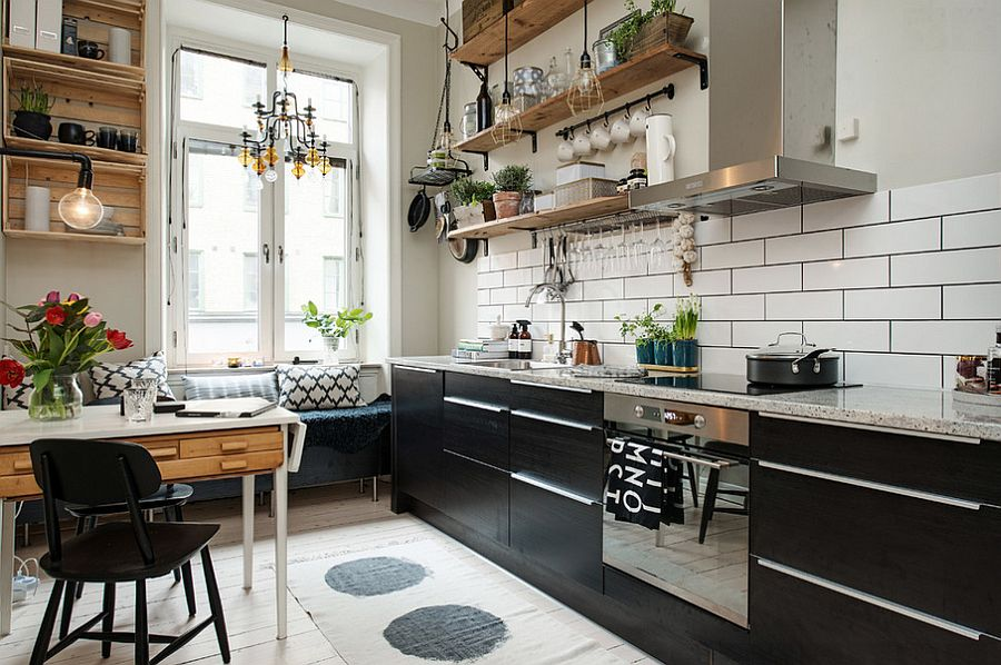 view in gallery small and stylish scandinavian kitchen with breakfast nook and floating wooden shelves design studio - Scandinavian Kitchen Design