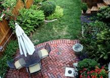 Small backyard with a brick patio