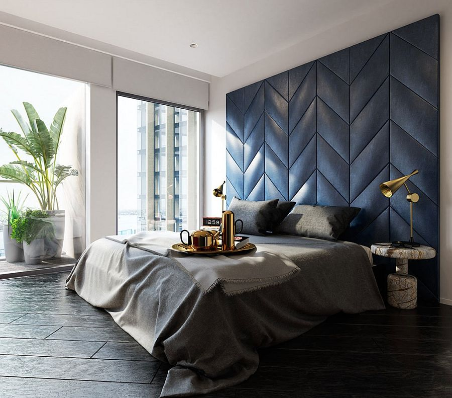 Smart bedside tables and Tom Dixon table lamps add glitter to the bedroom