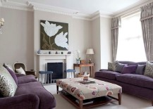 Smart tufted coffee table complements the lovely purple sofa set
