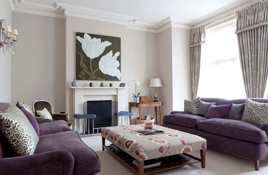Smart tufted coffee table complements the lovely purple sofa set [Design: Fiona Andrews Interiors Limited]