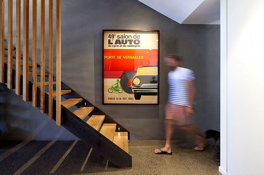 Smart wooden staircase with slats