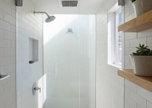 Sparkling white shower with glass doors