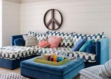 Splash of blue for the beach style living room