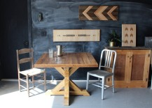 Square wooden trestle table from Etsy shop New Antiquity