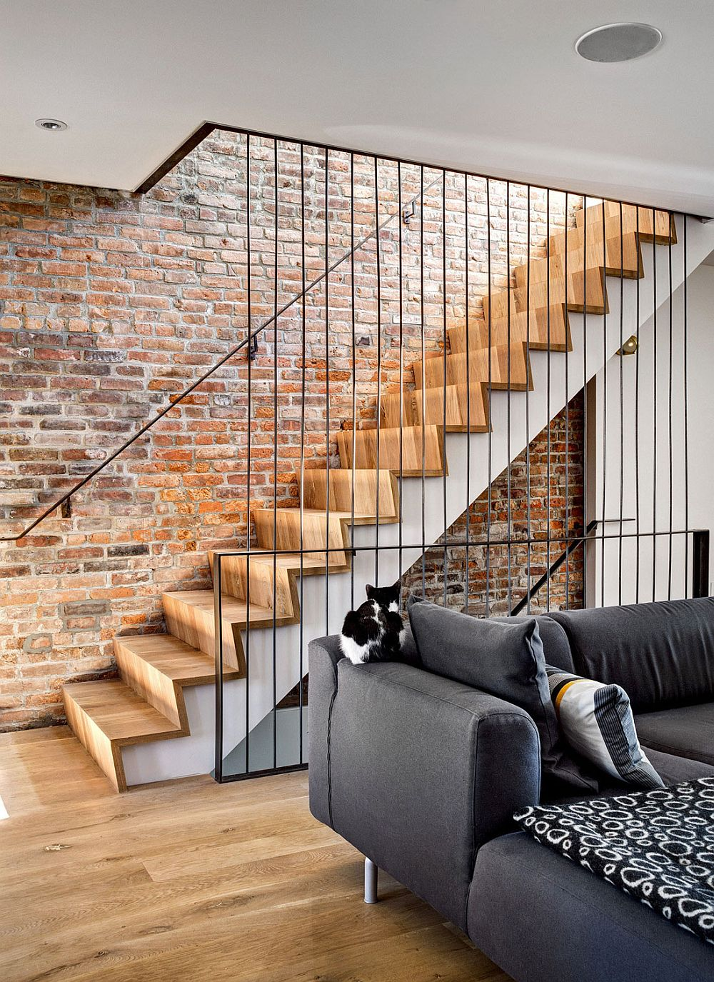 Staircase offers a blend of contrasting textures and materials