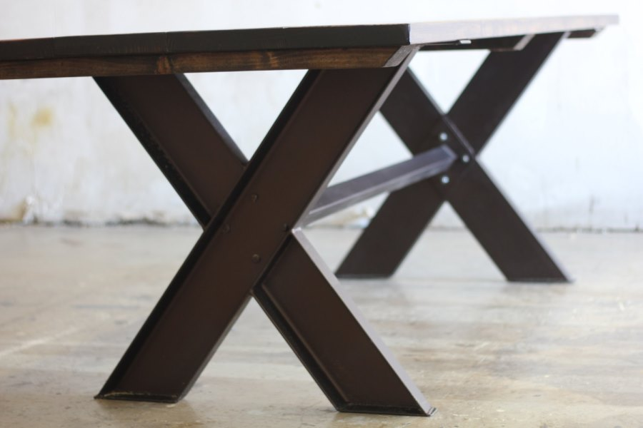 View In Gallery Steel And Wood Trestle Table From Etsy Shop James + James