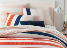Striped duvet cover and shams from West Elm