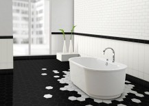 Stunning black and white bathroom with hexagonal tiles