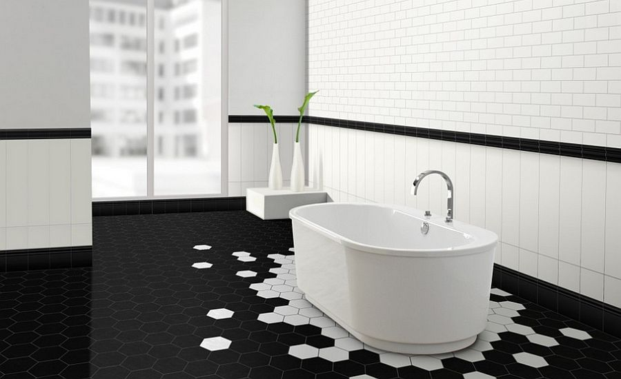 Stunning black and white bathroom with hexagonal tiles [Design: Metro Tiles Geebung]