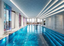 Stunning indoor swimming pool with captivating lighting