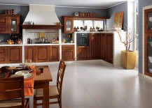 Stylish wooden shelves shape the classic Italian kitchen