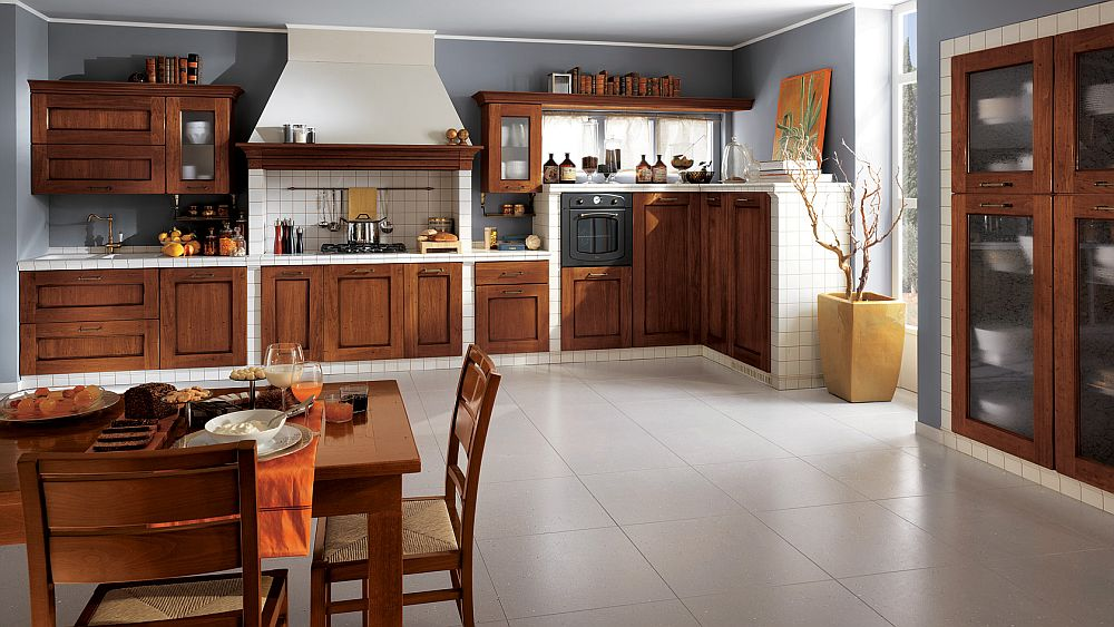 Stylish wooden shelves shape the classic Italian kitchen