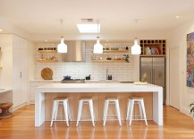 subway tile and large island for Scandinavian kitchen design