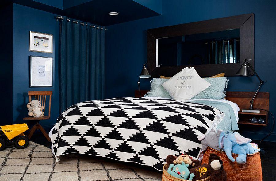 Think beyond black for the dark drapes [Design: BGDB Interior Design]