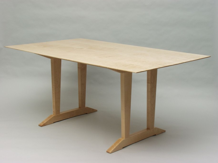 Tiger maple trestle table from Custom Made