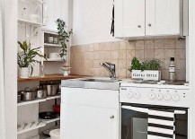 Tiny kitchen idea of the ultra-small Scandinavian style apartment