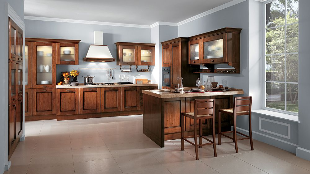 Traditional design of the glass-door units makes them ideal for the vintage kitchen