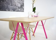 Trestle table with hot pink legs from Etsy shop Modern Cre8ve