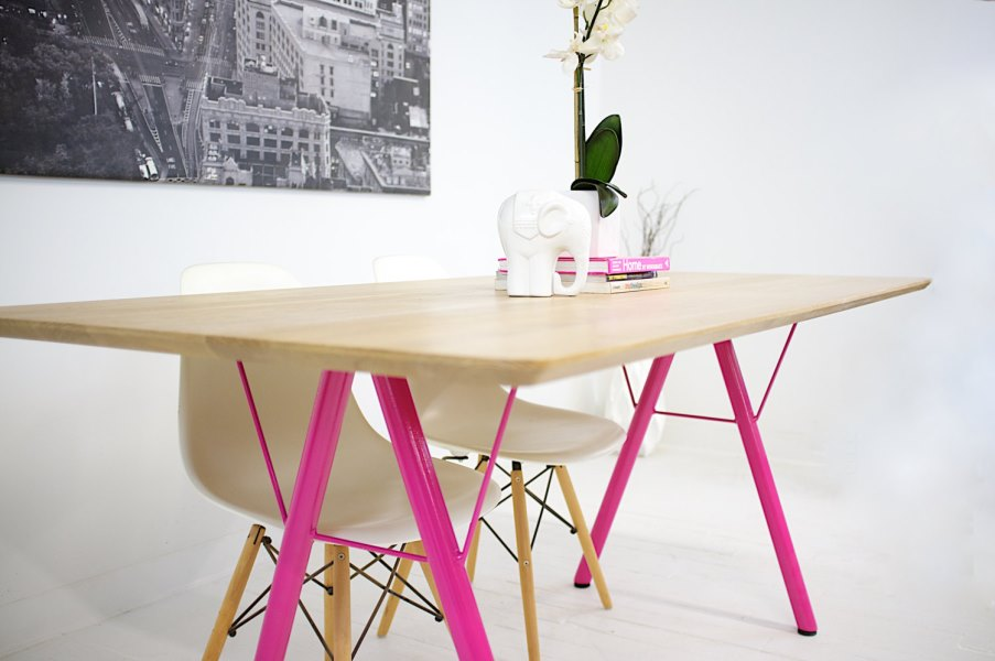 View In Gallery Trestle Table With Hot Pink Legs From Etsy Shop Modern  Cre8ve