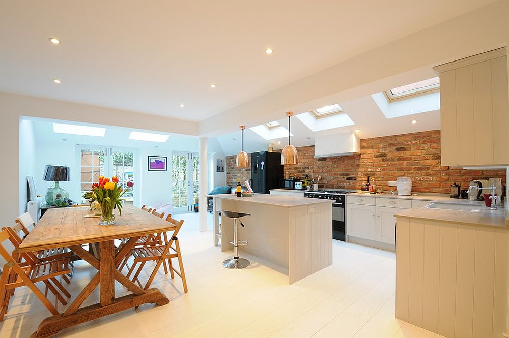 try out the brick wall instead of traditional white one in the scandinavian kitchen design - Scandinavian Kitchen Design
