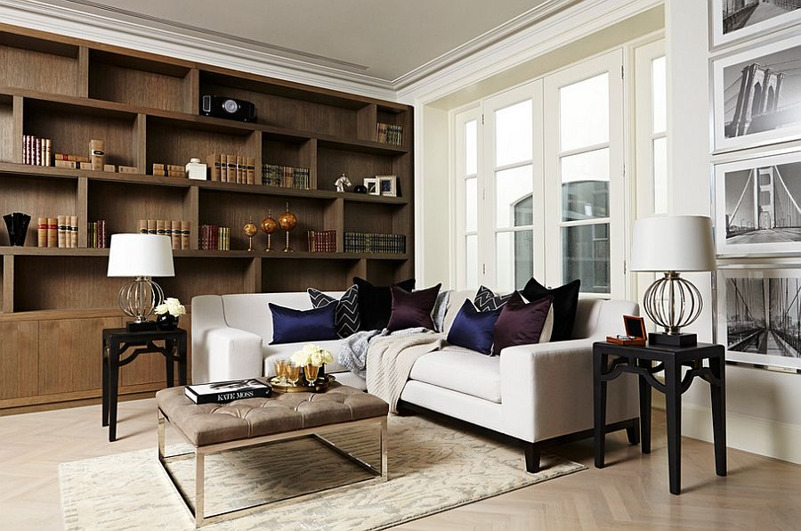 Tufted coffee table works well in the study as well [Design: A. London]