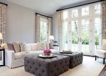 Twin gray ottoman steals the show in the living room of modern New York home [From: Jacob Snavely Photography]