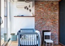 Vintage brick fireplace in the modern nursery
