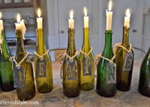 Wine Bottle Candle Holders 217x155 8 Ways to Wow Your Friends with Recycled Wine Bottles