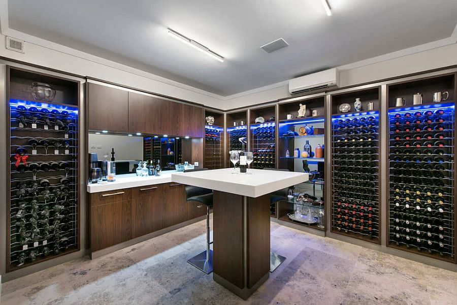 Wine cellar and tasting area with brilliant lighting